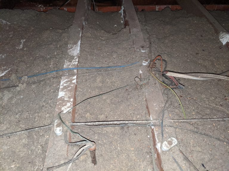 dangerous wiring in a roof space